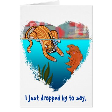 Valentines Themed Ginger Kitty Fishing Koi April Fools Greeting Card