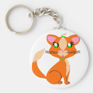 Ginger Kitty Toon Greens Keychain