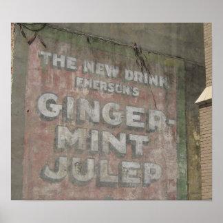 Ginger-Mint Julep Sign Poster
