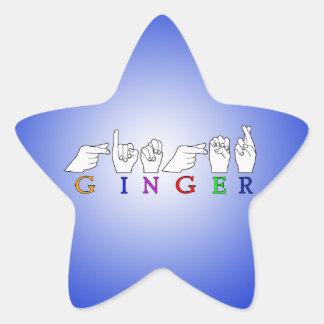 GINGER NAME ASL FINGER SPELLED FEMALE STAR STICKER