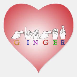 GINGER NAME ASL FINGER SPELLED FEMALE STICKER