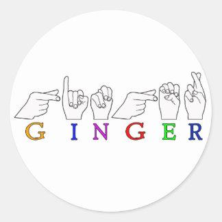 GINGER NAME ASL FINGER SPELLED FEMALE ROUND STICKER