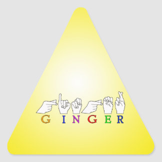 GINGER NAME ASL FINGER SPELLED FEMALE TRIANGLE STICKER