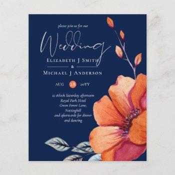 Ginger Navy Autumn Fall Wedding Invitation BUDGET