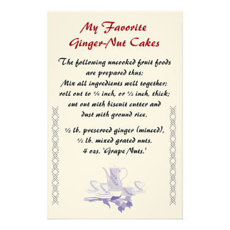 Ginger-Nut Cakes Recipe Stationery