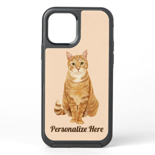 Ginger Orange Tabby Cat Personalized OtterBox Symmetry iPhone 12 Case