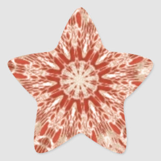 Ginger Peach Doily Kaleidoscope Star Sticker