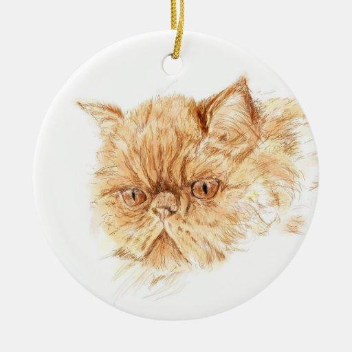 ginger persian cat christmas ornament