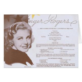 Ginger Rogers Vintage Dinner Party Menu Card