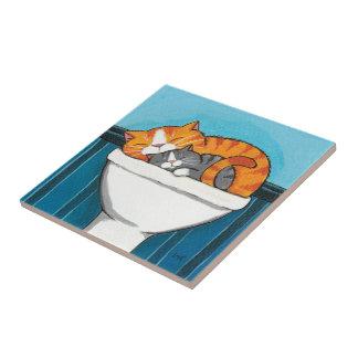 Ginger & Smokey | Sleeping Sink Cats Art Tile