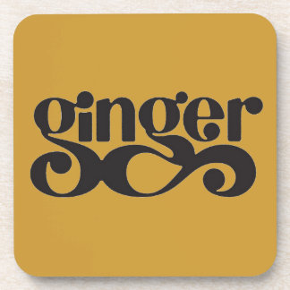 GINGER SPICES WORD COOKING TASTY BEVERAGE COASTERS
