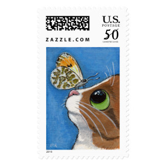 Ginger Tabby Cat and Butterfly Postage