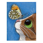 Ginger Tabby Cat and Butterfly Postcard