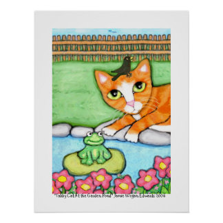 Ginger Tabby Cat By The Pond Print