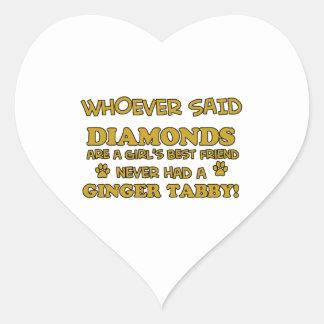 Ginger Tabby Cat designs Heart Sticker