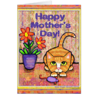 Ginger Tabby Cat Mother's Day Greeting Card
