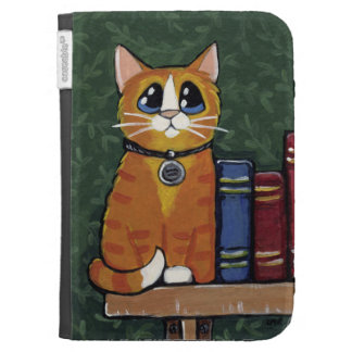 Ginger Tabby Cat on a Bookshelf Painting Kindle Covers