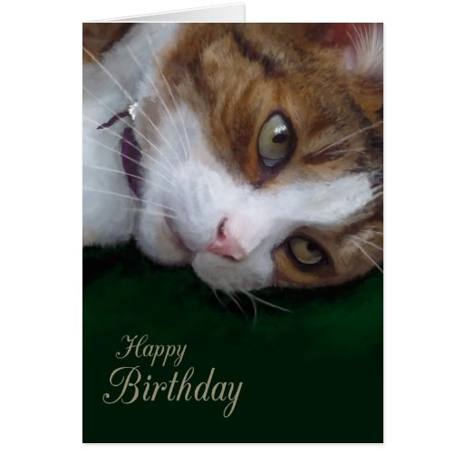 Ginger Tabby Cat Personalizable Happy Birthday Greeting Card
