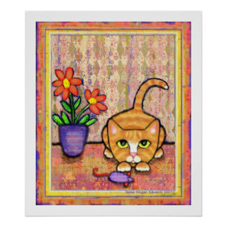 """Ginger Tabby Cat Playing"" Poster"