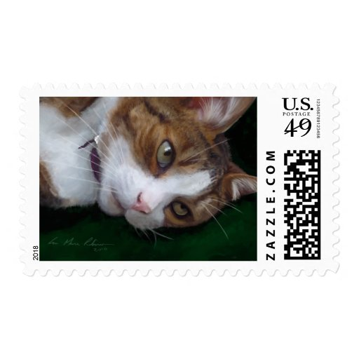 Ginger Tabby Cat Resting on Green Cat Art - Medium Postage