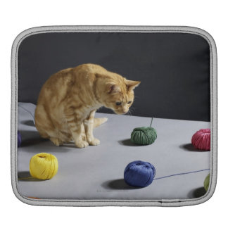 Ginger tabby cat sitting on table iPad sleeves
