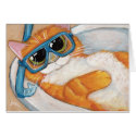 Ginger Tabby Cat with Snorkel in Sink  - Cat Art Card