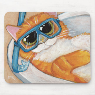 Ginger Tabby Cat with Snorkel Relaxing in a Sink Mouse Pad