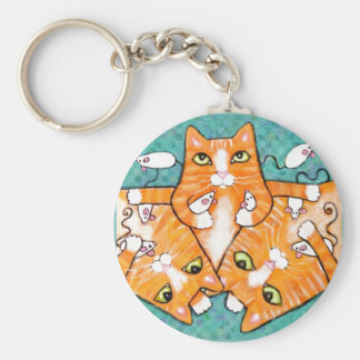 Ginger Tabby Cats With Toys Basic Round Button Keychain