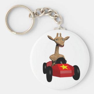 Ginger the Giraffe racing Basic Round Button Keychain
