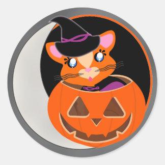 Ginger Toon Kitty Quarter Moon Sticker