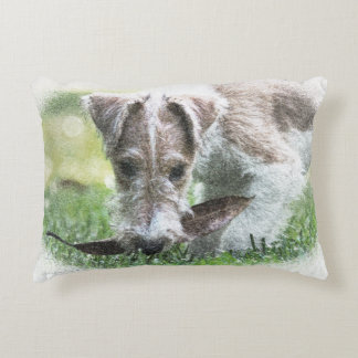 Ginger Wire Fox Terrier Puppy Decorative Pillow