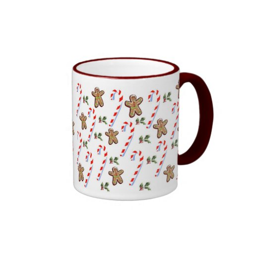 Gingerbread and Candy Canes Ringer Coffee Mug