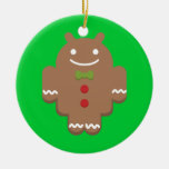 Gingerbread Android Double-Sided Ceramic Round Christmas Ornament