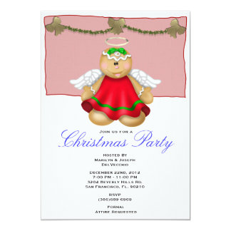 Gingerbread Angel Christmas Party Holiday Invite