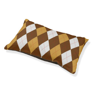 Gingerbread Argyle Doggie Sleeper Small Dog Bed