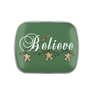Gingerbread Believe Tins and Jars w. Candy Jelly Belly Tins