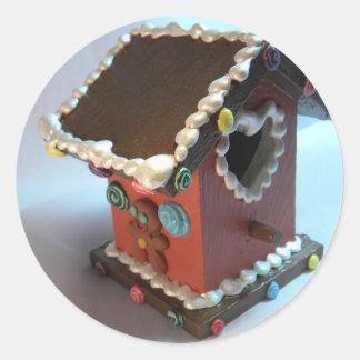 Gingerbread Birdhouse III Classic Round Sticker