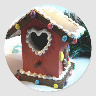 Gingerbread Birdhouse Classic Round Sticker