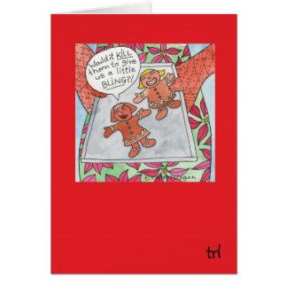 Gingerbread Bling Greeting Card