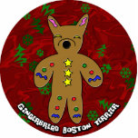 Gingerbread Boston Terrier Christmas Ornament Photo Cutout