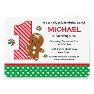 Gingerbread Boy 1st Birthday Invitations