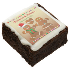 Gingerbread Boy And Gingerbread Girl Xmas Wedding Chocolate Brownie