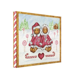 Gingerbread Boy and Girl Canvas Art