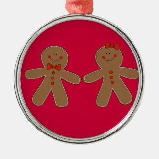 Gingerbread Boy and Girl Metal Ornament