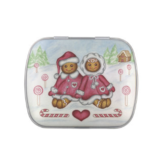 Gingerbread Boy and Girl Tin Candy Tin