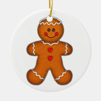 GINGERBREAD BOY by SHARON SHARPE Double-Sided Ceramic Round Christmas Ornament