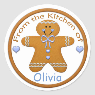 Gingerbread Boy Custom Sticker~From the Kitchen of Classic Round Sticker