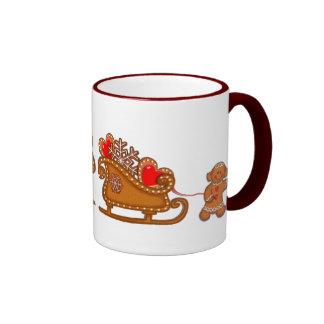 GINGERBREAD BOY, GIRL & SLEIGH by SHARON SHARPE Coffee Mug