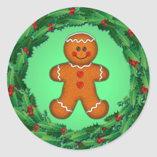 GINGERBREAD BOY & HOLLY WREATH by SHARON SHARPE Stickers