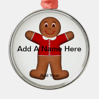 Gingerbread Boy in Christmas Holiday Red Metal Ornament